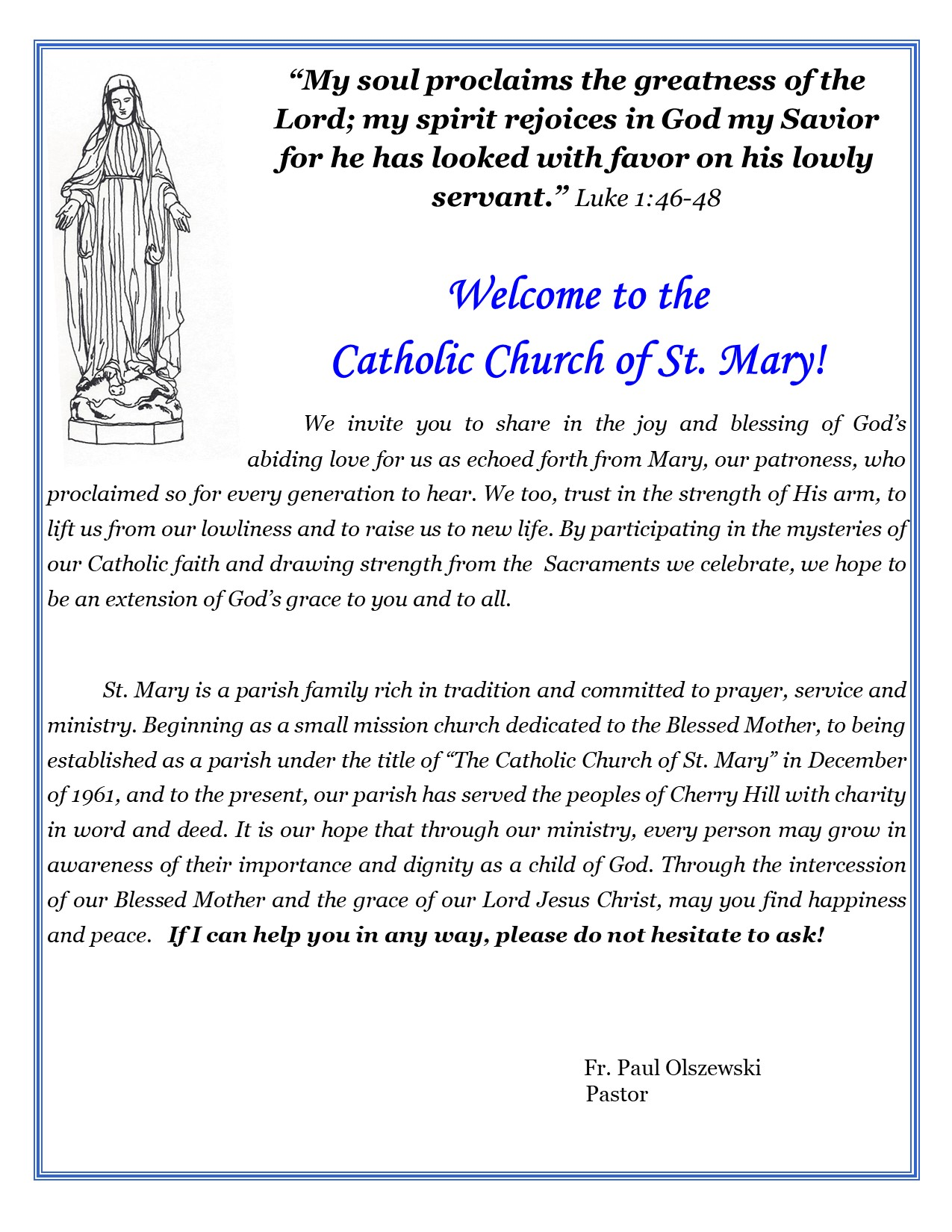 The Catholic Church of St Mary - Message from Fr  Paul